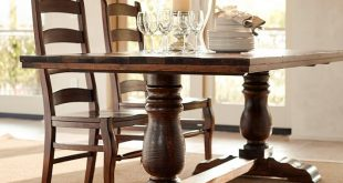 wood dining table bowry reclaimed wood fixed dining table | pottery barn LZKXOSV