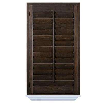 wood shutters installed hardwood stained shutter GPLRSUZ