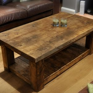 wooden coffee tables reclaimed chunky rustic pine solid wood coffee table PGIWQXH