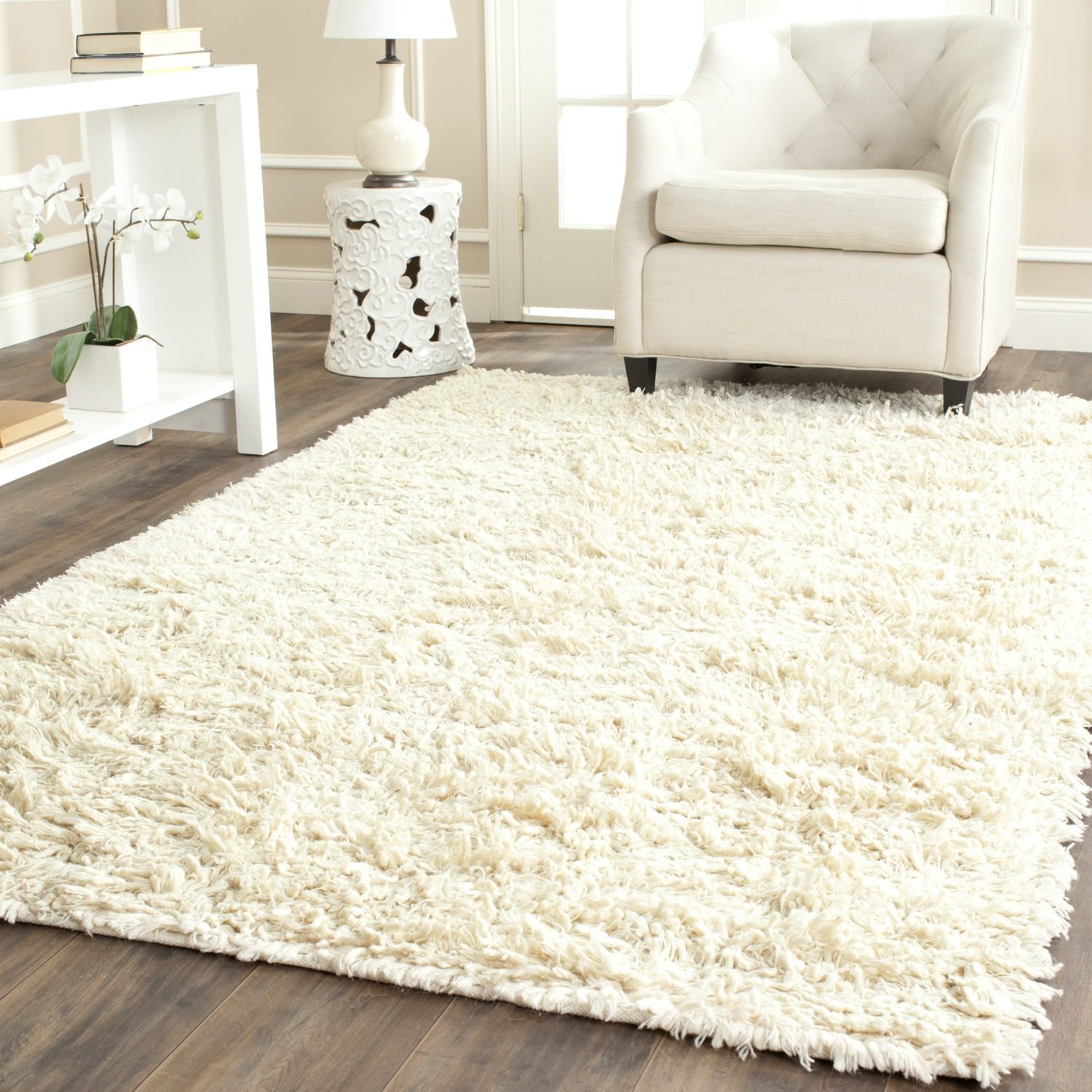 wool area rugs safavieh-hand-tufted-ivory-plush-shag-wool-area- KQGJBNR