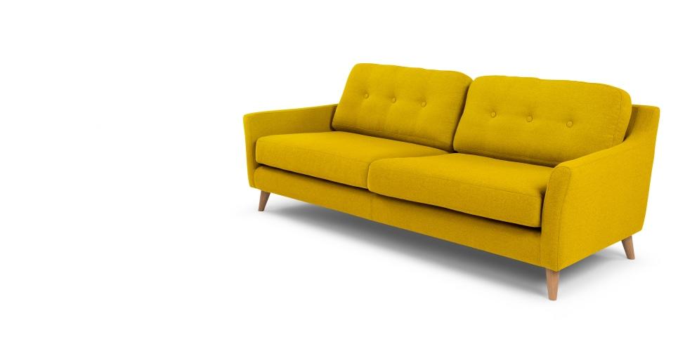 yellow sofa a 3 seater sofa, in mustard yellow XAGSKWJ
