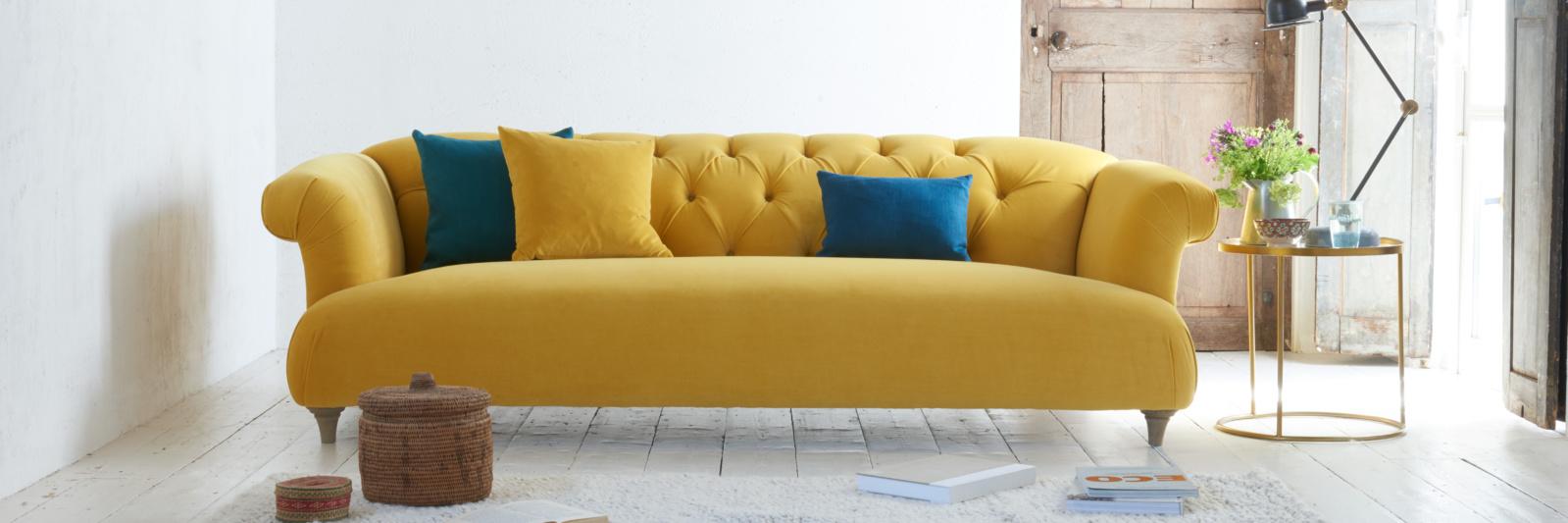 yellow sofa dixie yellow velvet sofa VFXYQEU