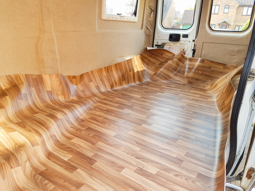 ... van conversion - installing lino flooring in a campervan KFNGQAF
