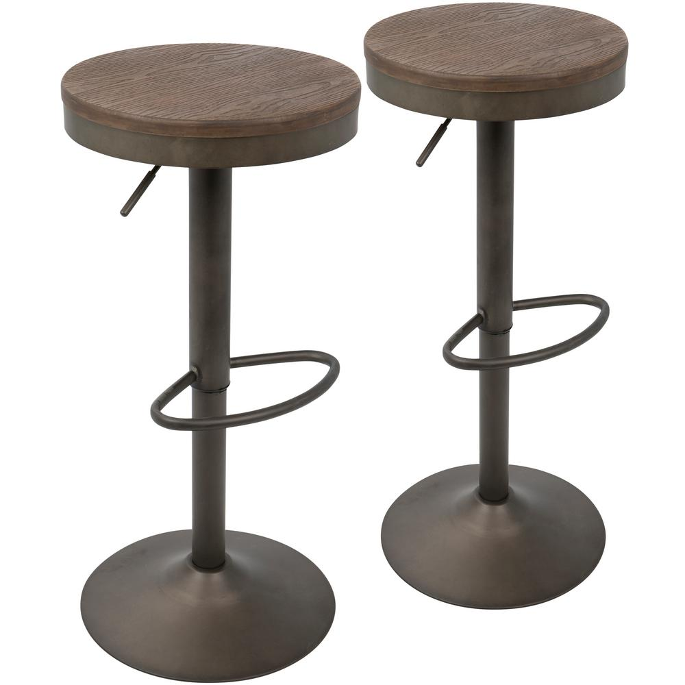 adjustable bar stools lumisource dakota antique and brown adjustable barstool (set of 2) BCEXSFM