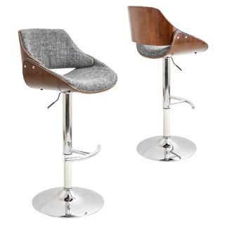 adjustable bar stools strick u0026 bolton blakey mid-century modern walnut wood and fabric adjustable  barstool WKTFOSR