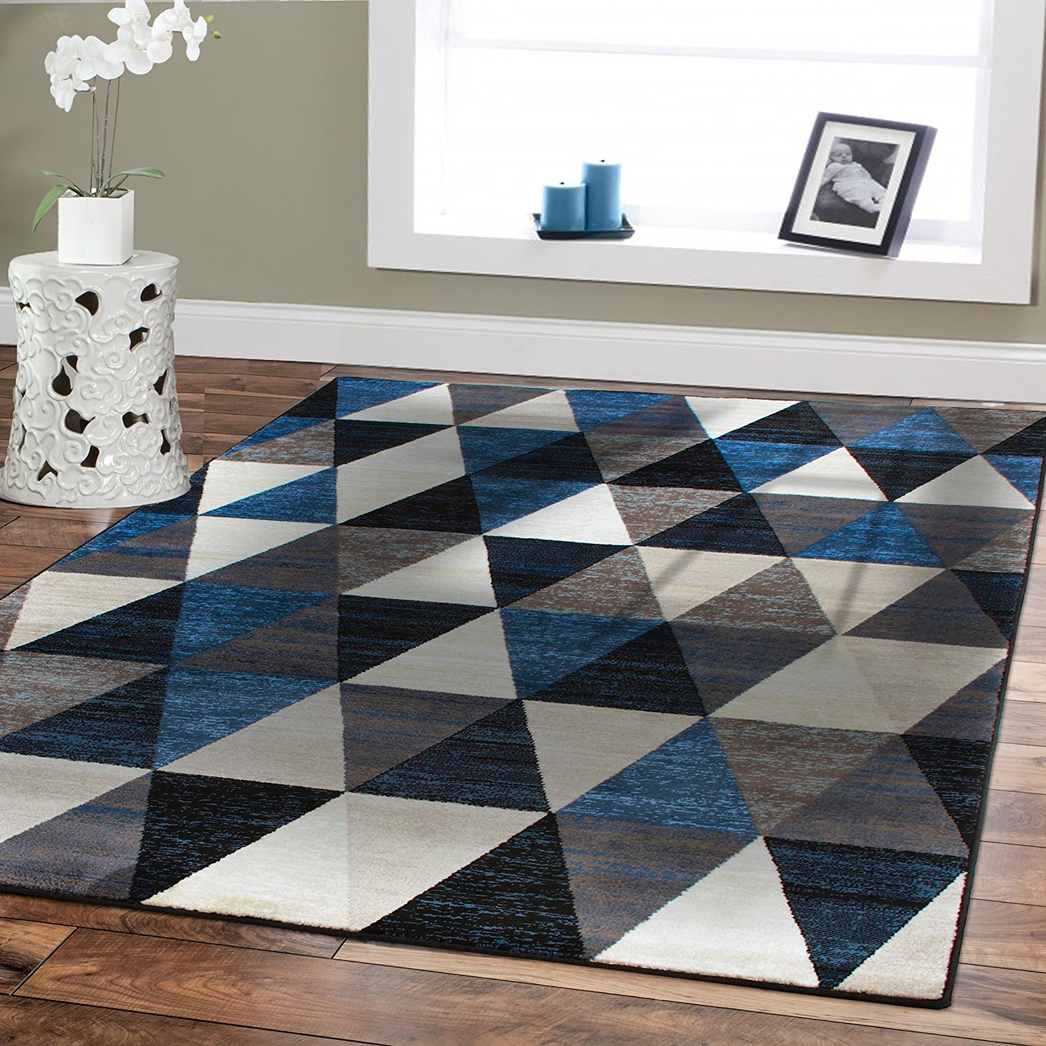 amazon.com: premium large rugs 8x11 modern rugs for brown sofa blue rugs SXQOAVF