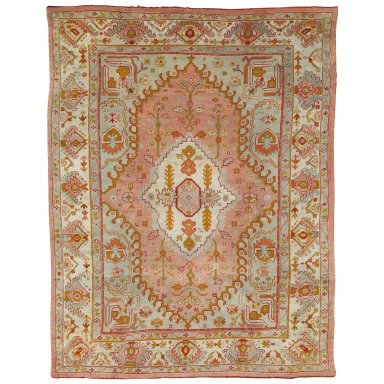 antique oushak carpet, turkish rugs, handmade oriental rug pink blue green  coral VVFGYMF