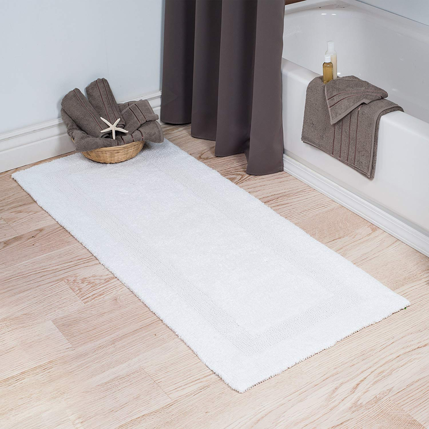 bath rug amazon.com: lavish home cotton bath mat- plush 100 percent cotton 24x60  long BTAREOQ