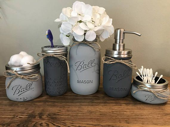 Bathroom Decor Sets rustic bathroom decor mason jar bathroom set mason jar IPWNCQO
