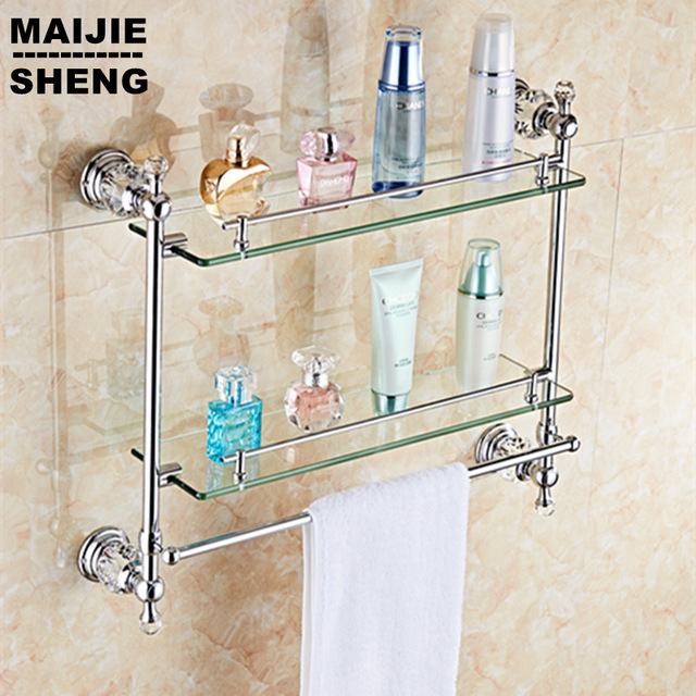 Bathroom Glass Shelves chrome crystal bathroom shower glass shelf bath shower shelf corner rack  gold MXOEIKL