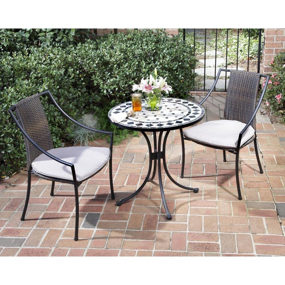 Bistro Sets home styles black and tan 3-piece tile top patio bistro set with taupe QKDVBCQ