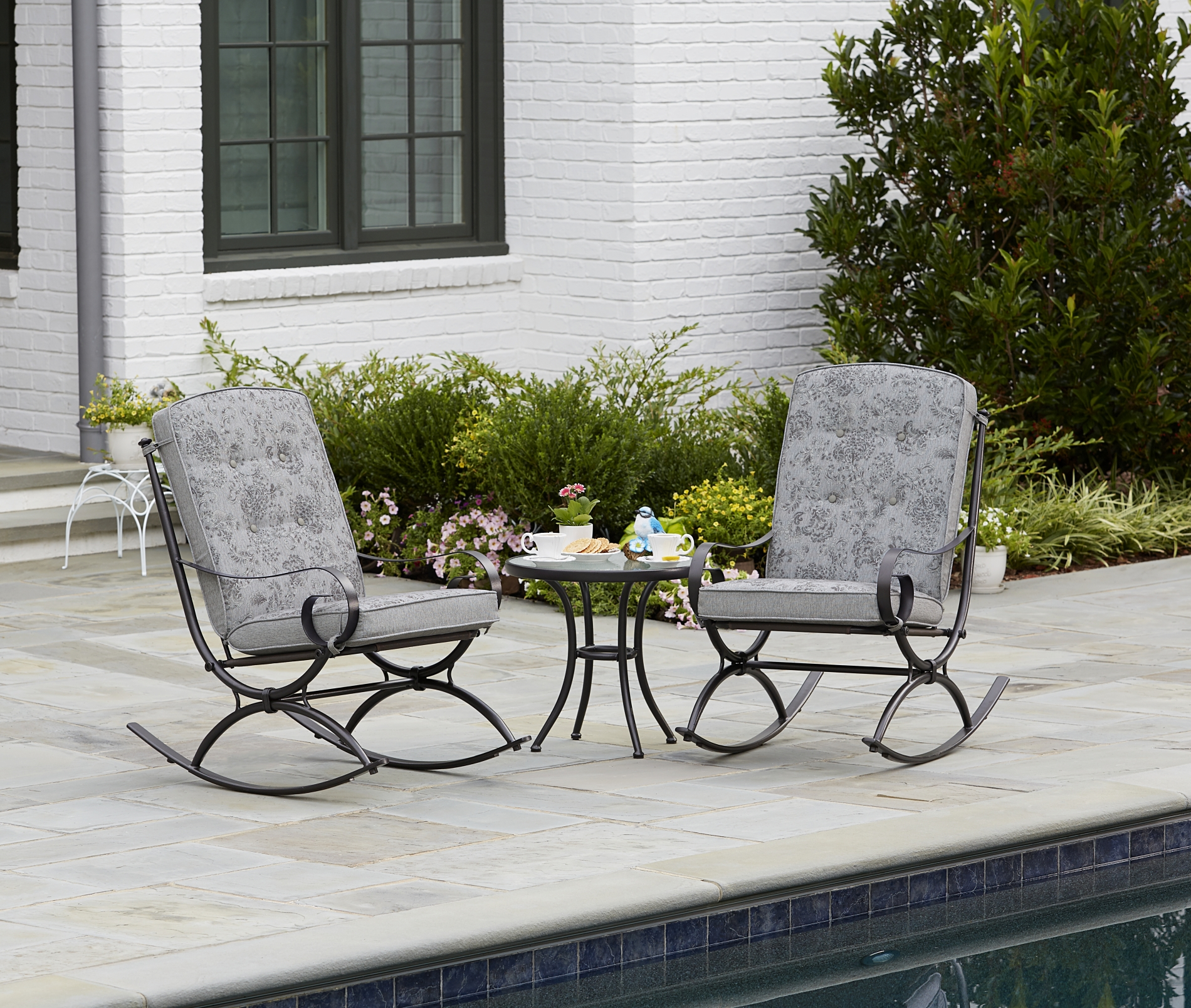 Bistro Sets jaclyn smith centralia 3-piece rocking patio bistro set - gray reversible  cushion FQZJWLD
