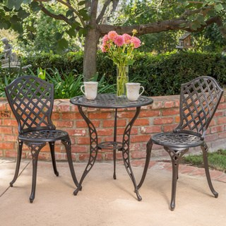 Bistro Sets la sola outdoor 3-piece cast aluminum bistro set by christopher knight home PGRNATO
