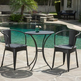 Bistro Sets lourdes outdoor 3-piece cast bistro set by christopher knight home AKYJHNN
