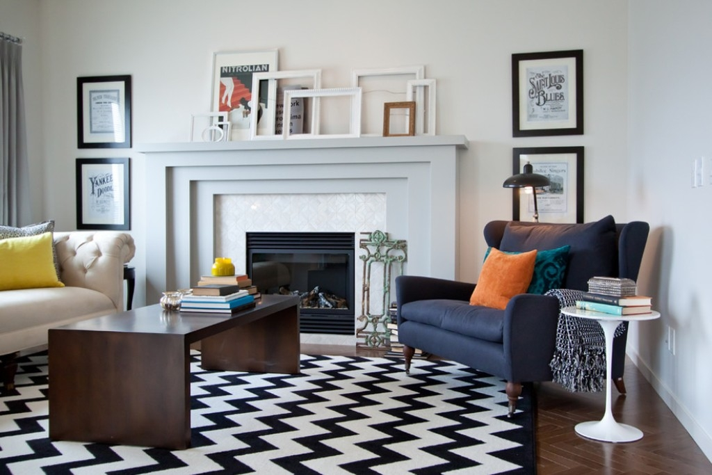 black and white rug decor herringbone wooden floor for classic living room ideas with black and white ILXIDNS