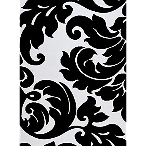 black and white rugs 3459 black white damask 7u002710 x 10u00276 modern abstract area rug carpet LZFIDRB