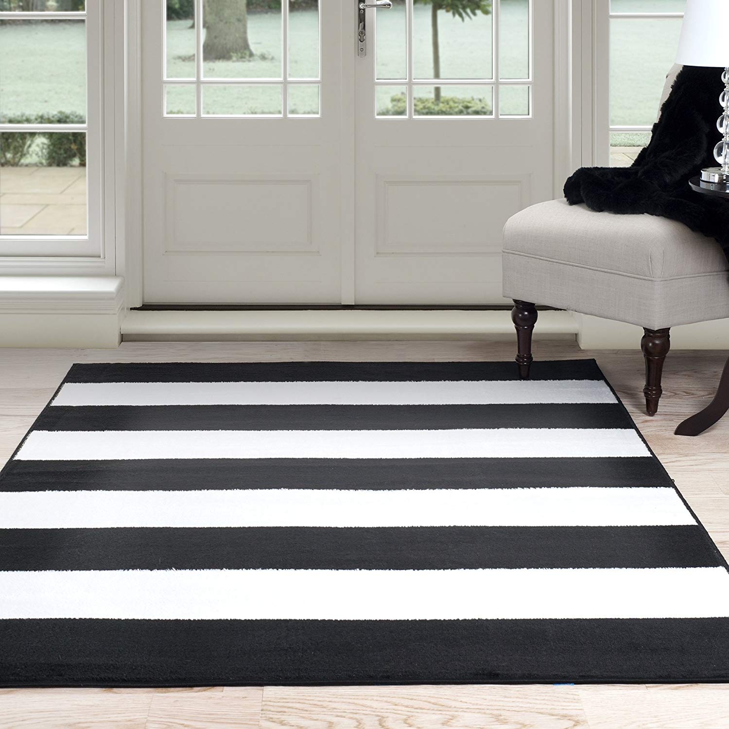 black and white rugs amazon.com: lavish home breton stripe area rug, 5u0027 by 7u00277 ZQZZAXQ
