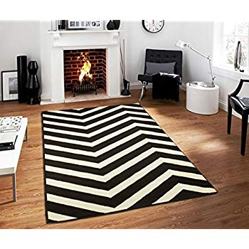 black and white rugs black contemporary chevron design 5x7 black zig zag rugs 5 by 7 area PPQUNIL