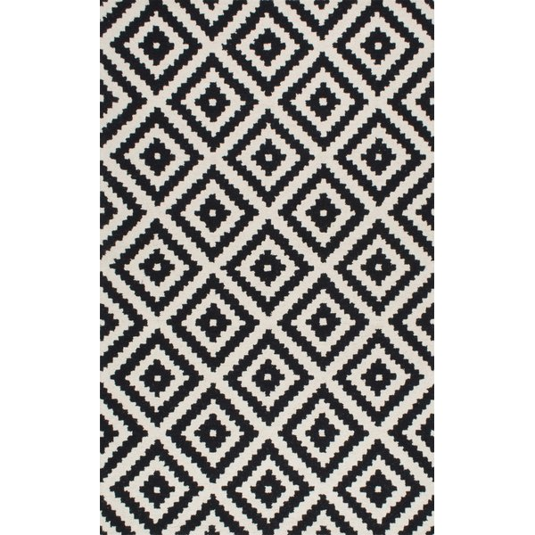 black and white rugs mercury row obadiah hand-tufted wool black area rug u0026 reviews | wayfair YJDGQDT