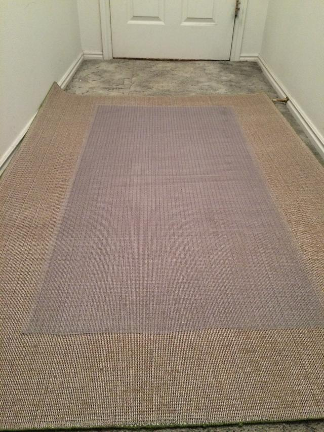 carpet runner on carpet next, place the vinyl runner upside down and center it on the area XEIARSQ
