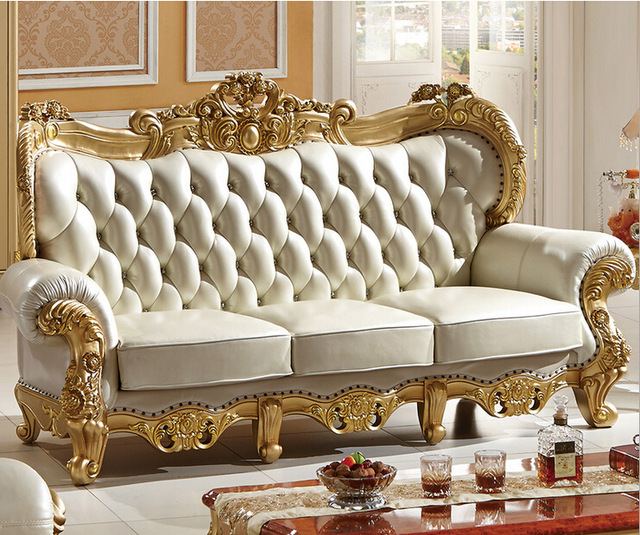 carved solid wood and italian leather sofa sets 9808 ICLPXYE