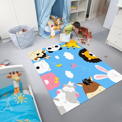 children rugs blue kids rug cartoon animal print rugs zoo world kids rugs and carpets NVKDKRO