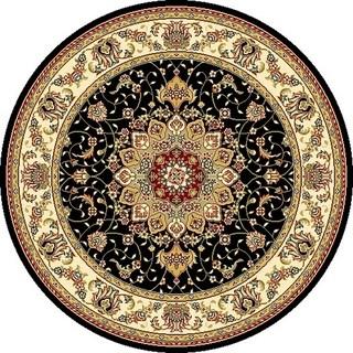 circular rugs safavieh lyndhurst traditional oriental black/ ivory rug - 4u0027 round XLWQBAC