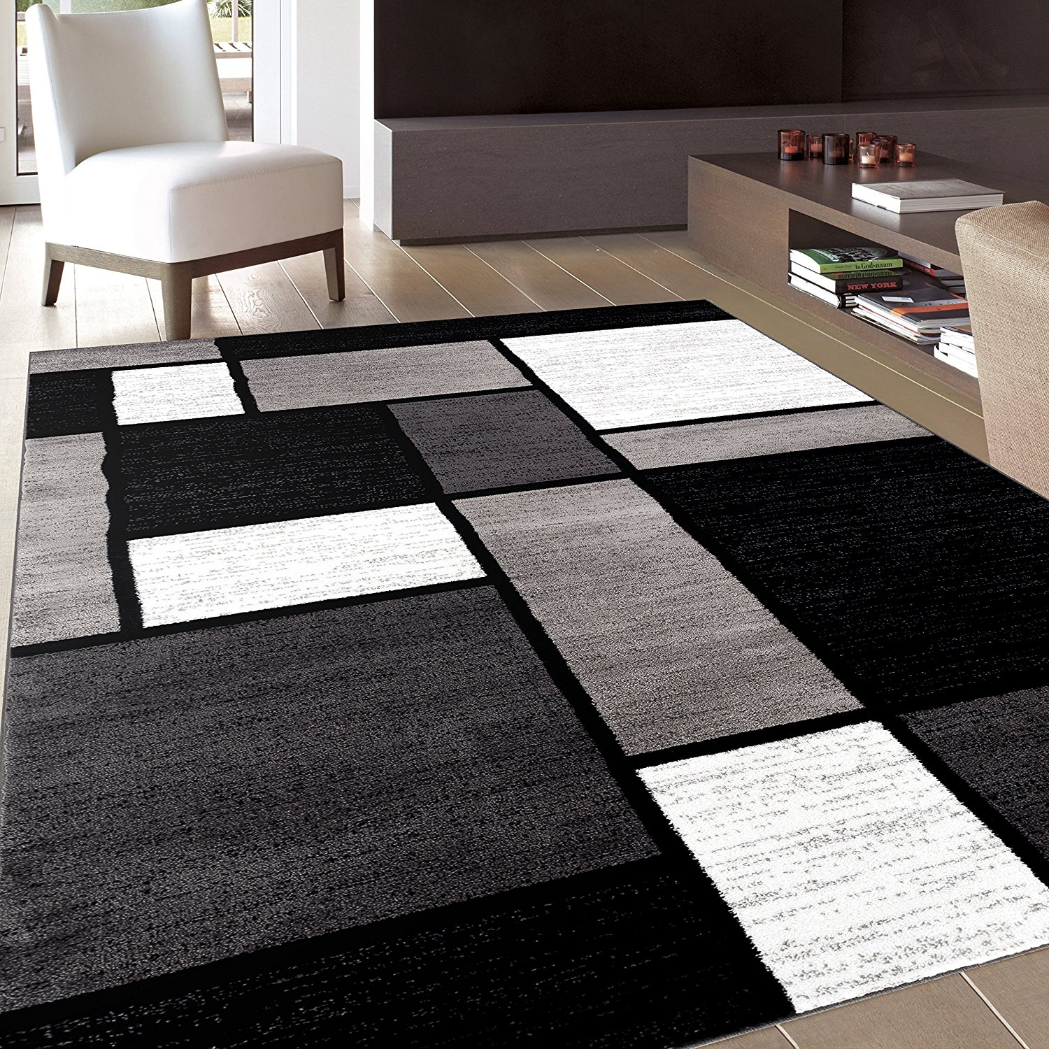 contemporary area rugs black and white area rugs amazon.com: rug decor contemporary modern boxes area OOQVKEL