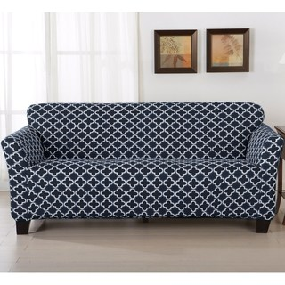 couch cover home fashion designs brenna collection trellis print stretch form-fitted sofa  slipcover WUGFUMQ