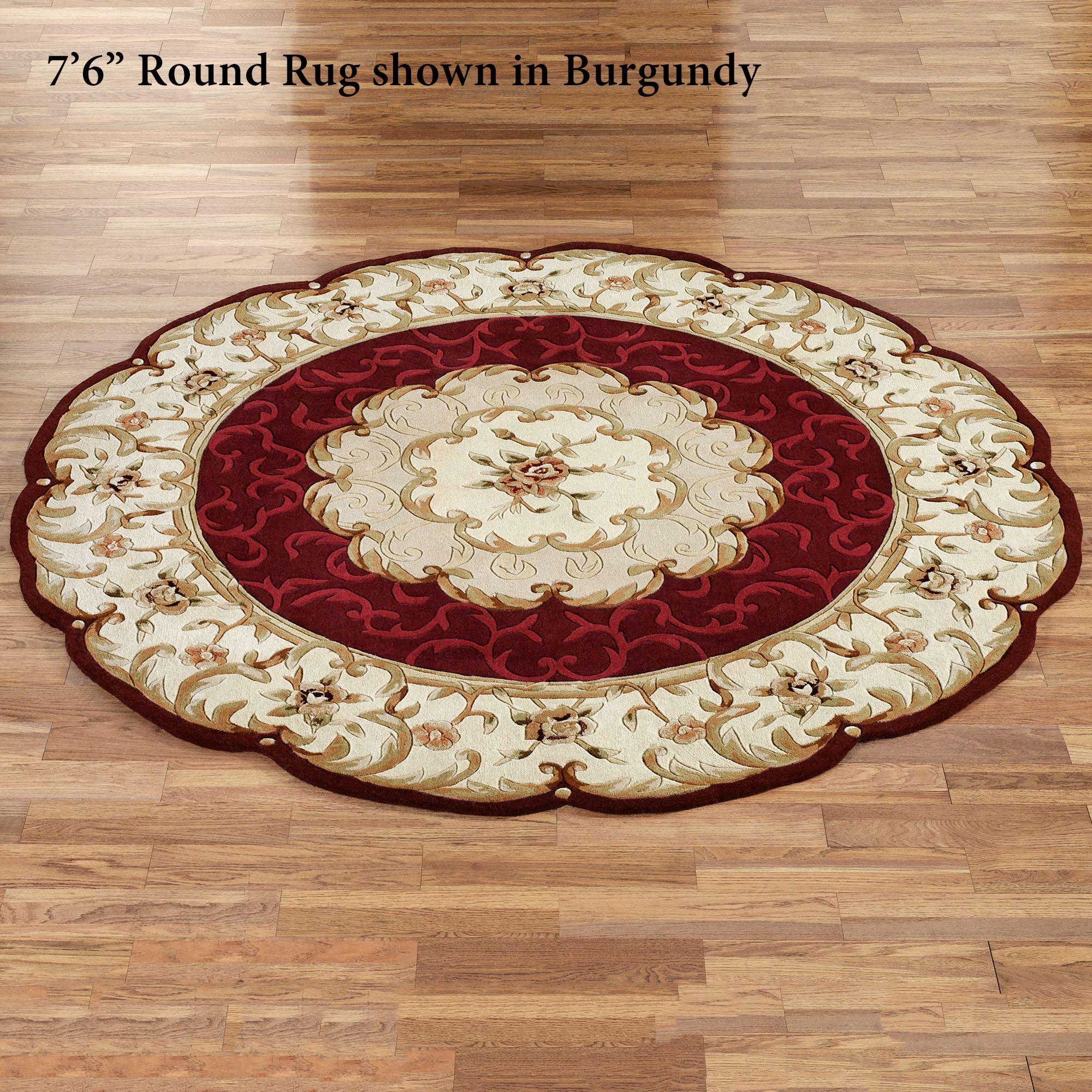evaline wool aubusson round area rugs SVGQUFA