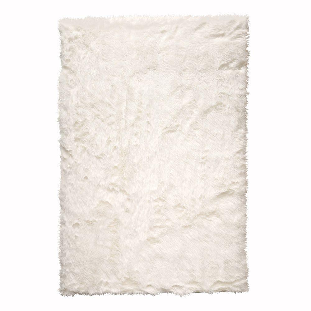 Fur rug home decorators collection faux sheepskin white 2 ft. x 3 ft. area rug BKGOIXK