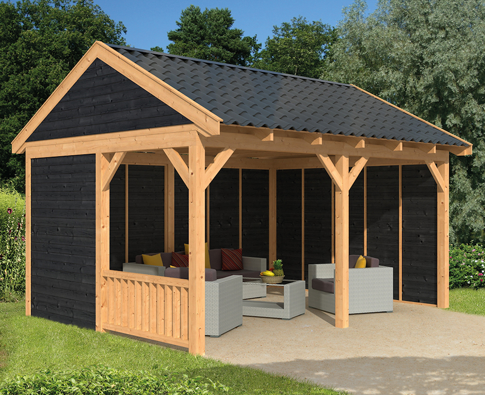 garden building larch open barn with side and rear walls. shown with optional painted PCSMQEH