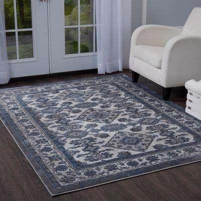 Grey rugs bazaar elegance gray/blue 8 ft. x 10 ft. indoor area rug VBYGXCJ