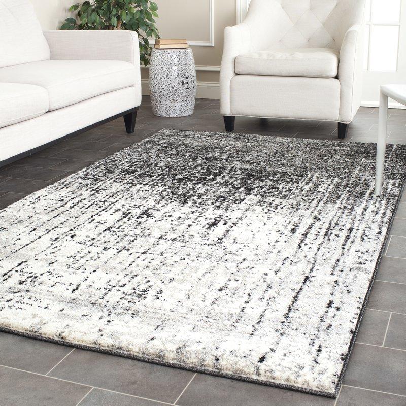 Grey rugs duron black/light grey area rug WOJUHDY