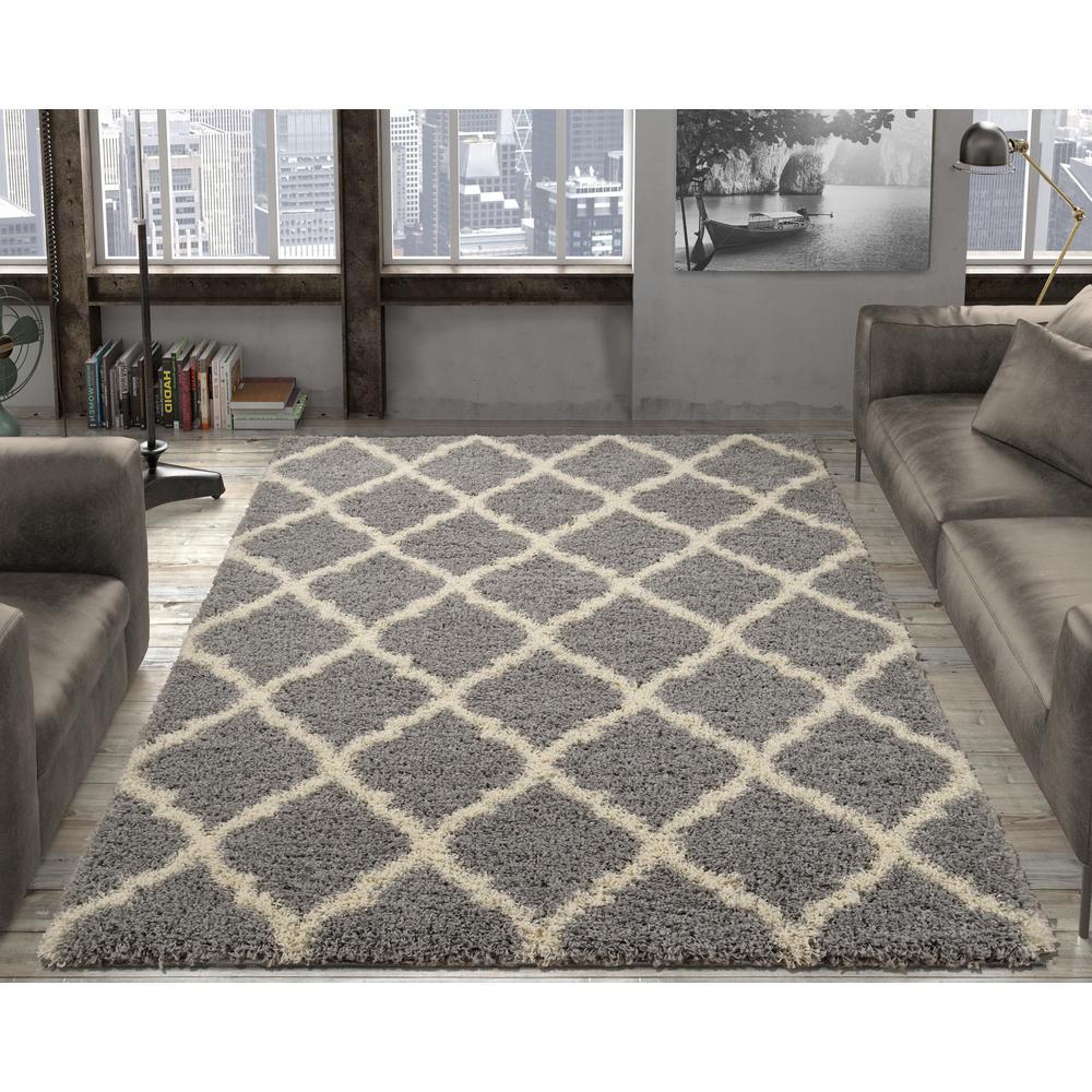 Grey rugs ottomanson ultimate shaggy contemporary moroccan trellis design grey 5 ft.  x 7 FDURCXY
