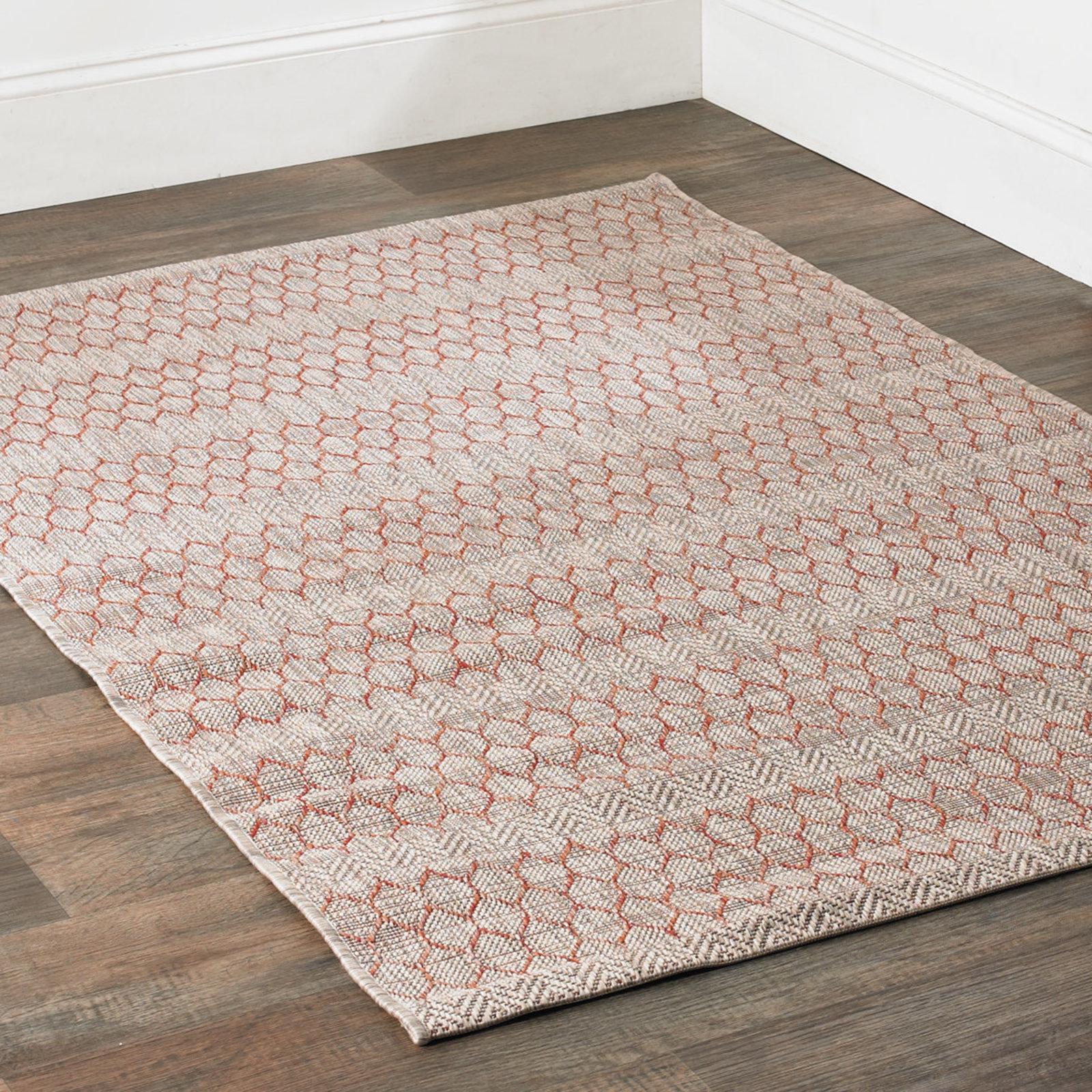 Indoor outdoor rugs honeycomb indoor-outdoor rug beige_rust JPGEZFT