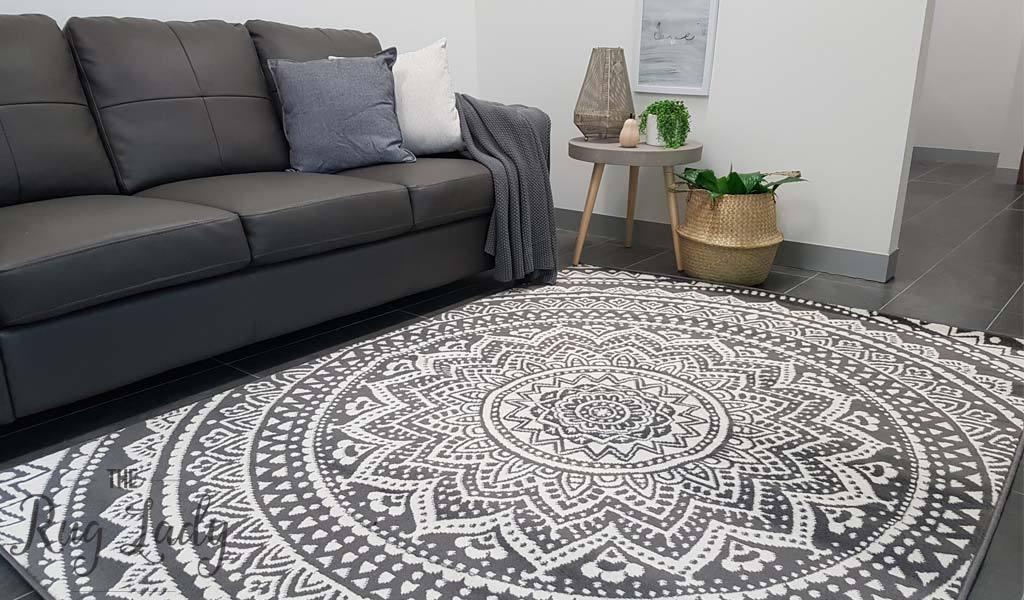 industry mandala grey and natural white modern rugs ELYSHWV