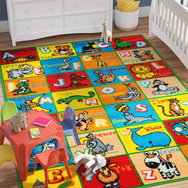 kids area rugs angelique learn abc / alphabet letters with animals bright colorful vibrant  colors AJHHOJS