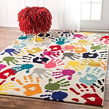 kids area rugs nuloom handprint collage kids nursery area rugs, 5u0027 x 8u0027, multicolor GRHLNLX