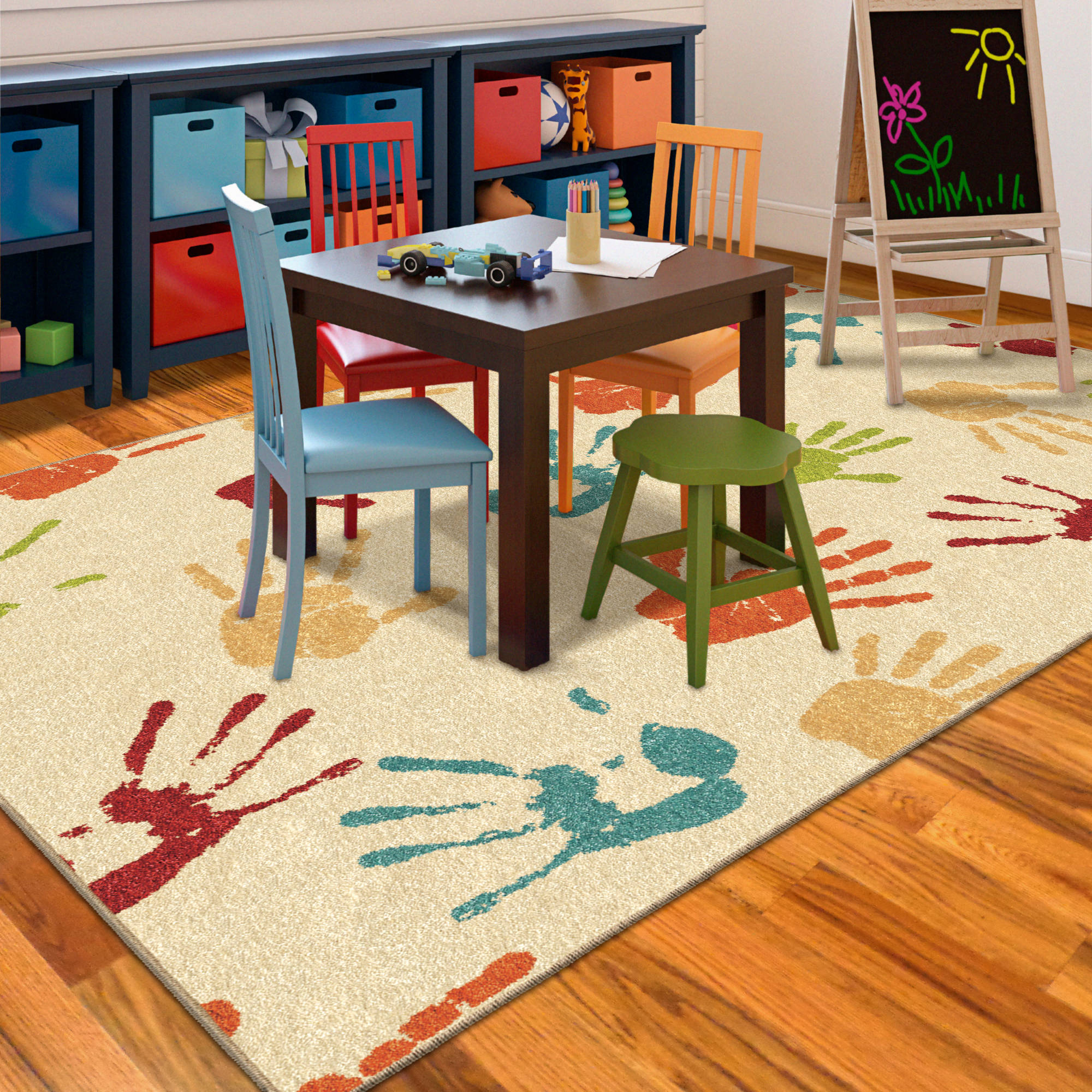 kids area rugs orian handprints fun kidsu0027 area rug - walmart.com CEKGWIS