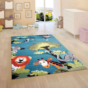 kids rugs image is loading kids-rug-blue-jungle-nursery-rugs-unisex-children- ARDJOJR