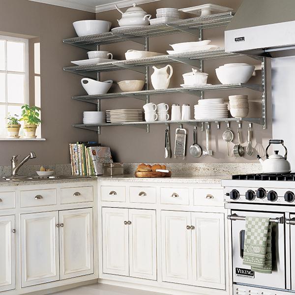 Kitchen Shelving platinum elfa kitchen wall VXJMPMK