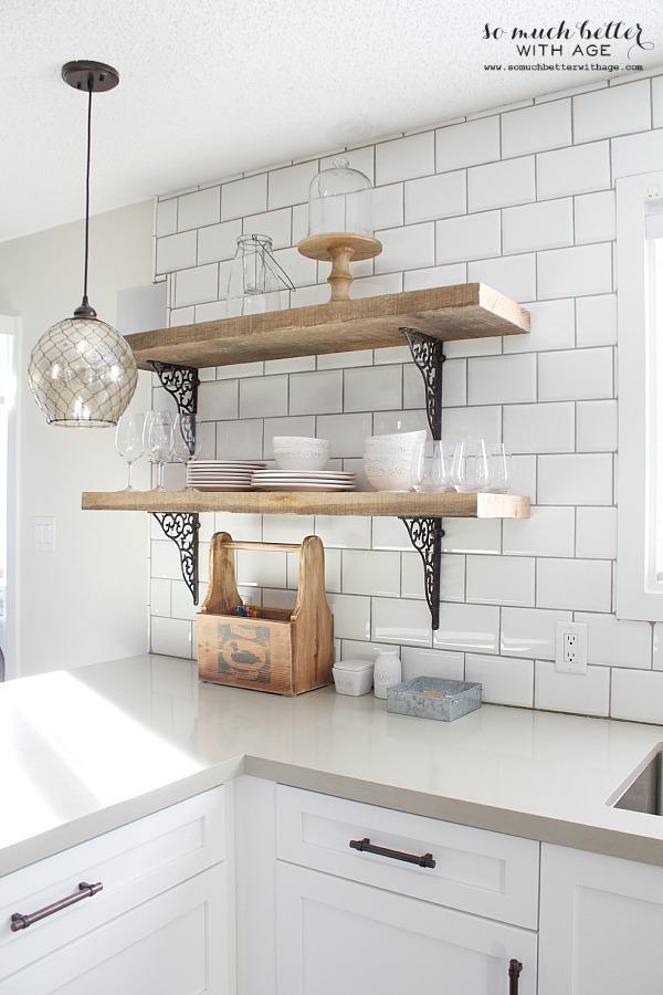 Kitchen Shelving rustic barn wood kitchen shelves | somuchbetterwithage.com KWHSYFT