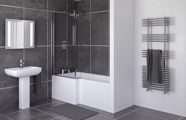 L shaped bath ... 1700mm l shaped shower bath (left), screen, side panel - sv91001131 FJGKIFA