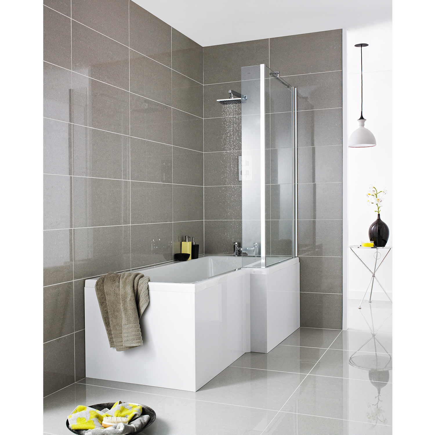 L shaped bath hudson reed square l-shaped eternalite shower bath 1700mm x 700mm/850mm  right handed TLKIJFZ