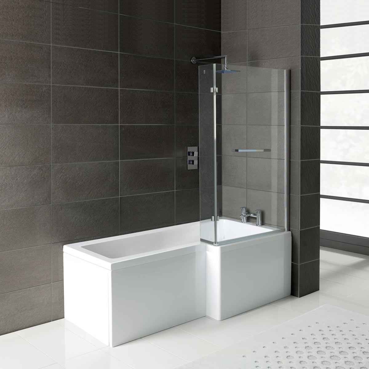 L shaped bath leda l shape shower bath 1700 x 850 with panel u0026 screen right GZMIJKB