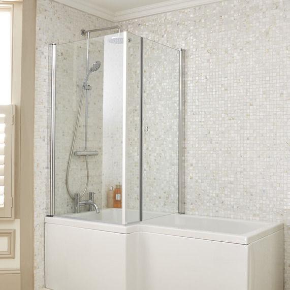 L shaped bath showercube l shaped bath screen image 1 EFAULBL