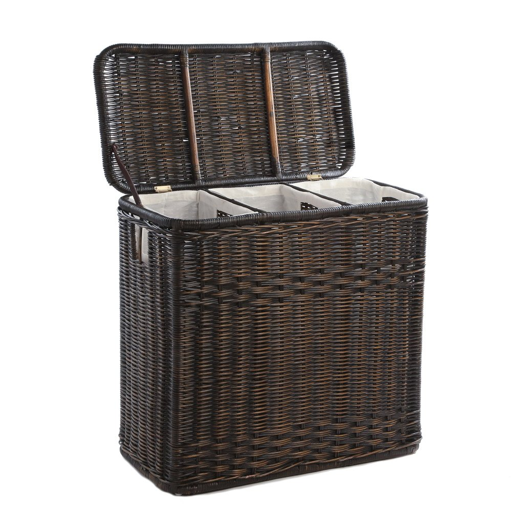 Laundry Basket 3-compartment wicker laundry hamper in antique walnut brown shown with lid  open JBWFBAQ