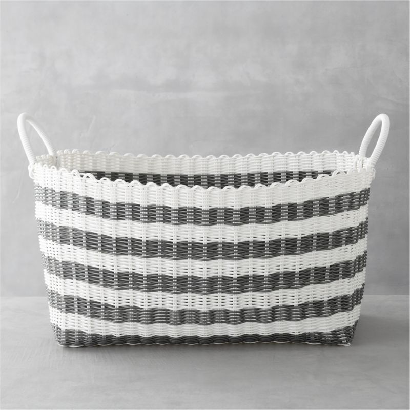 Laundry Basket grey-white stripe laundry hamper + reviews | crate and barrel VECOFEX