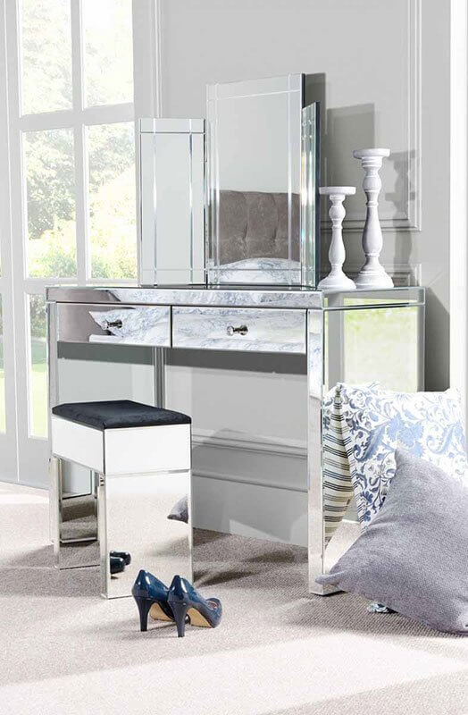 Mirrored Dressing Table aphrodite venetian mirrored dressing table with 2 drawers JEPZTMK